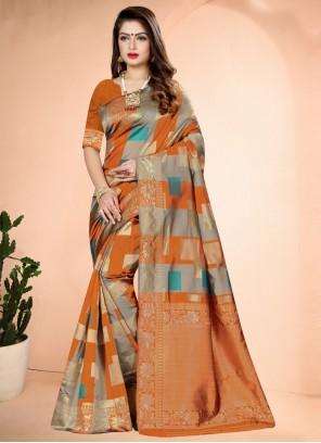 Orange Art Banarasi Silk Festival Designer Traditional Saree