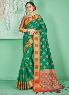 Art Banarasi Silk Green Designer Traditional Saree