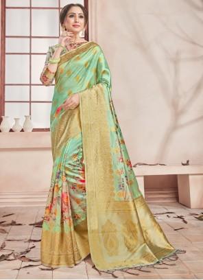 Art Banarasi Silk Green Printed Saree
