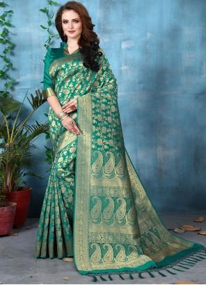 Art Banarasi Silk Green Traditional Designer Saree