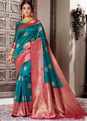 Art Banarasi Silk Green Weaving Designer Traditional Saree