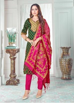 Art Banarasi Silk Green Weaving Pant Style Suit