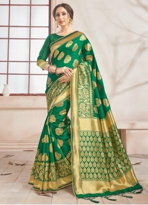 Art Banarasi Silk Green Woven Designer Traditional Saree