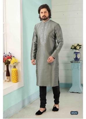 Art Banarasi Silk Grey Embroidered Kurta Pyjama