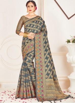 Art Banarasi Silk Grey Woven Traditional Designer Saree
