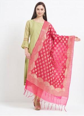 Art Banarasi Silk Hot Pink Zari Designer Dupatta