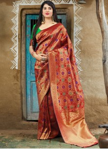 Art Banarasi Silk Machine Embroidery  Red Designer Traditional Saree