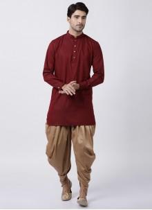 Art Banarasi Silk Maroon Plain Dhoti Kurta