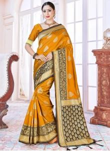 Art Banarasi Silk Mustard Woven Traditional Saree