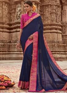 Art Banarasi Silk Navy Blue Designer Traditional Saree