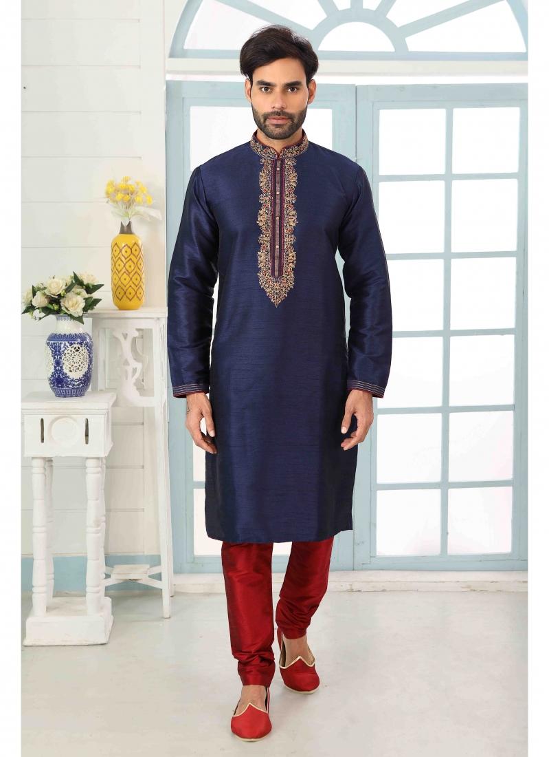 Art Banarasi Silk Navy Blue Kurta Pyjama