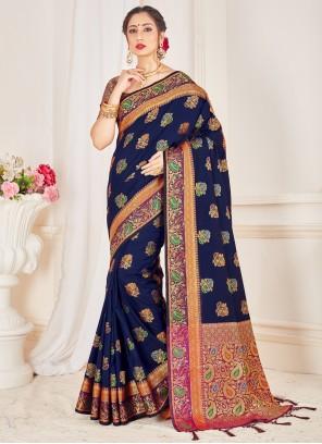 Art Banarasi Silk Navy Blue Woven Designer Traditional Saree