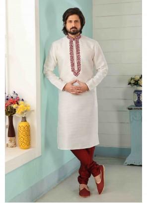Art Banarasi Silk Off White Kurta Pyjama