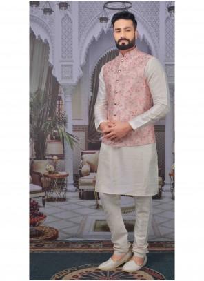Art Banarasi Silk Off White Plain Kurta Pyjama