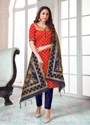 Red Art Banarasi Silk Pant Style Suit