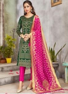 Art Banarasi Silk Pant Style Suit in Green