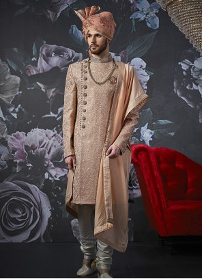 Art Banarasi Silk Peach Embroidered Indo Western