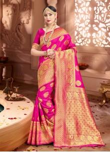 Art Banarasi Silk Pink Classic Saree