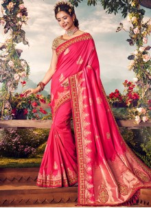 Art Banarasi Silk Pink Designer Traditional Saree