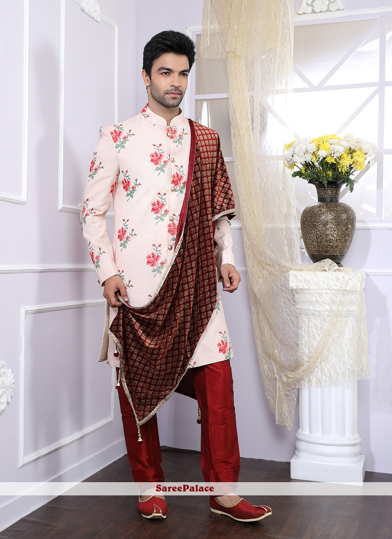 633b89cbe6 Buy Art Banarasi Silk Pink Kurta Pyjama Online