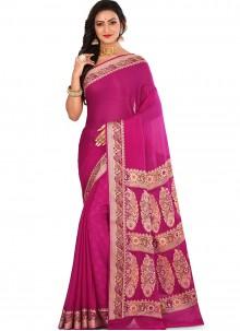 Art Banarasi Silk Pink Weaving Designer Traditional Saree