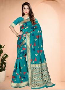 Art Banarasi Silk Printed Rama Traditional Saree