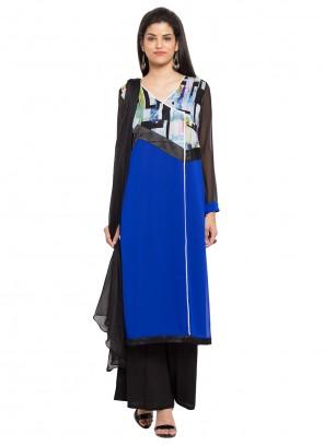 Art Banarasi Silk Printed Readymade Salwar Kameez in Blue