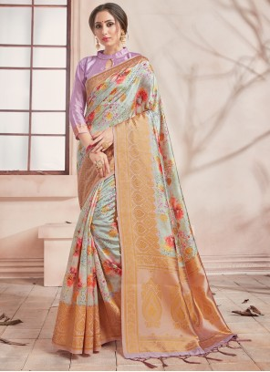 Art Banarasi Silk Printed Saree in Multi Colour