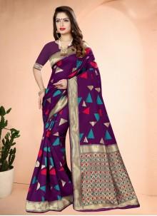 Purple Art Banarasi Silk Printed Traditional Designer Saree