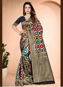 Art Banarasi Silk Printed Traditional Saree in Black