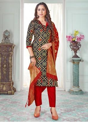 Art Banarasi Silk Navy Blue Reception Pant Style Suit