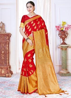 Art Banarasi Silk Red Woven Designer Traditional Saree