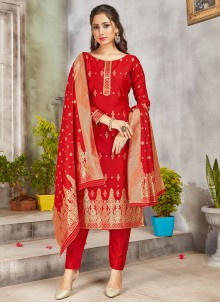 Art Banarasi Silk Red Woven Pant Style Suit