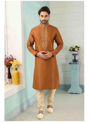 Art Banarasi Silk Rust Kurta Pyjama