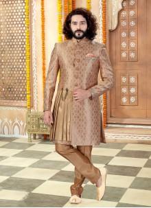 Art Banarasi Silk Sherwani in Brown