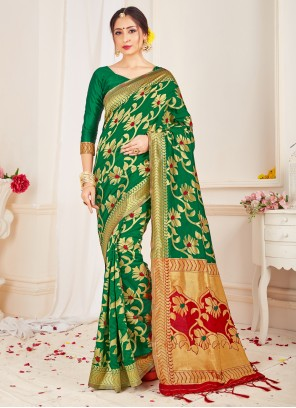 Art Banarasi Silk Traditional Green Designer Saree