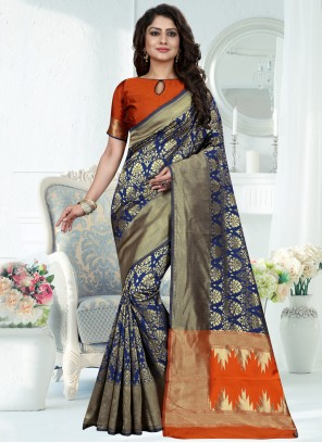Art Banarasi Silk Traditional Designer Saree in Blue