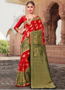 Art Banarasi Silk Red Traditional Saree