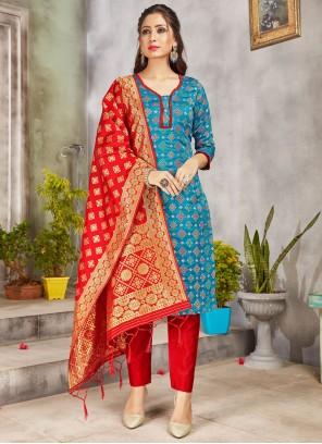 Art Banarasi Silk Turquoise Weaving Pant Style Suit