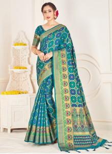 Art Banarasi Silk Turquoise Woven Traditional Saree