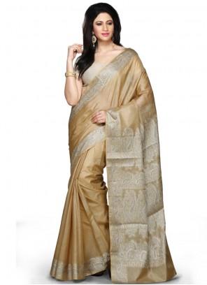 Art Banarasi Silk Weaving Designer Traditional Saree in Beige