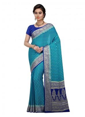 Art Banarasi Silk Weaving Designer Traditional Saree in Blue