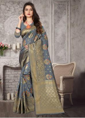 Art Banarasi Silk Weaving Grey Traditional Designer Saree