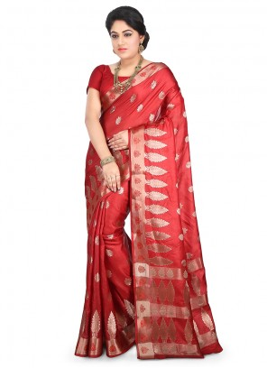 Art Banarasi Silk Weaving Maroon Designer Traditional Saree