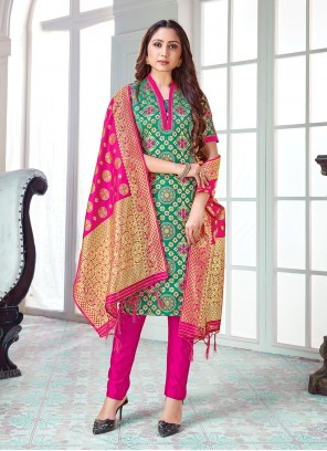 Art Banarasi Silk Weaving Pant Style Suit in Green