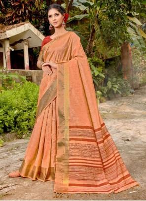 Art Banarasi Silk Weaving Peach Traditional Saree