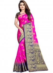 Art Banarasi Silk Weaving Rani Designer Traditional Saree