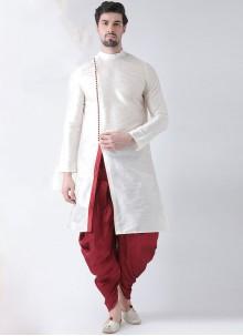 Art Banarasi Silk White Dhoti Kurta