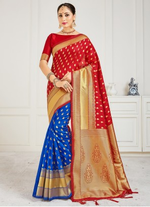 Art Banarasi Silk Woven Blue and Red Half N Half  Saree