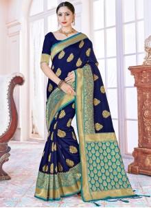 Art Banarasi Silk Woven Blue Designer Traditional Saree